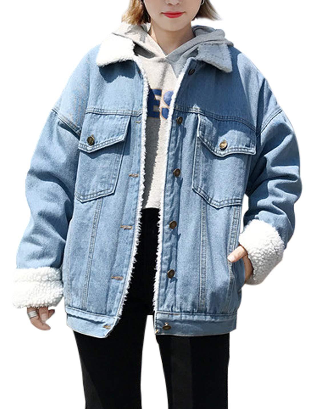 Jenkoon Women's Oversized Thick Warm Sherpa Fur Lined Denim Trucker Jacket Boyfriend Jean Coat (Light Blue, X-Small)