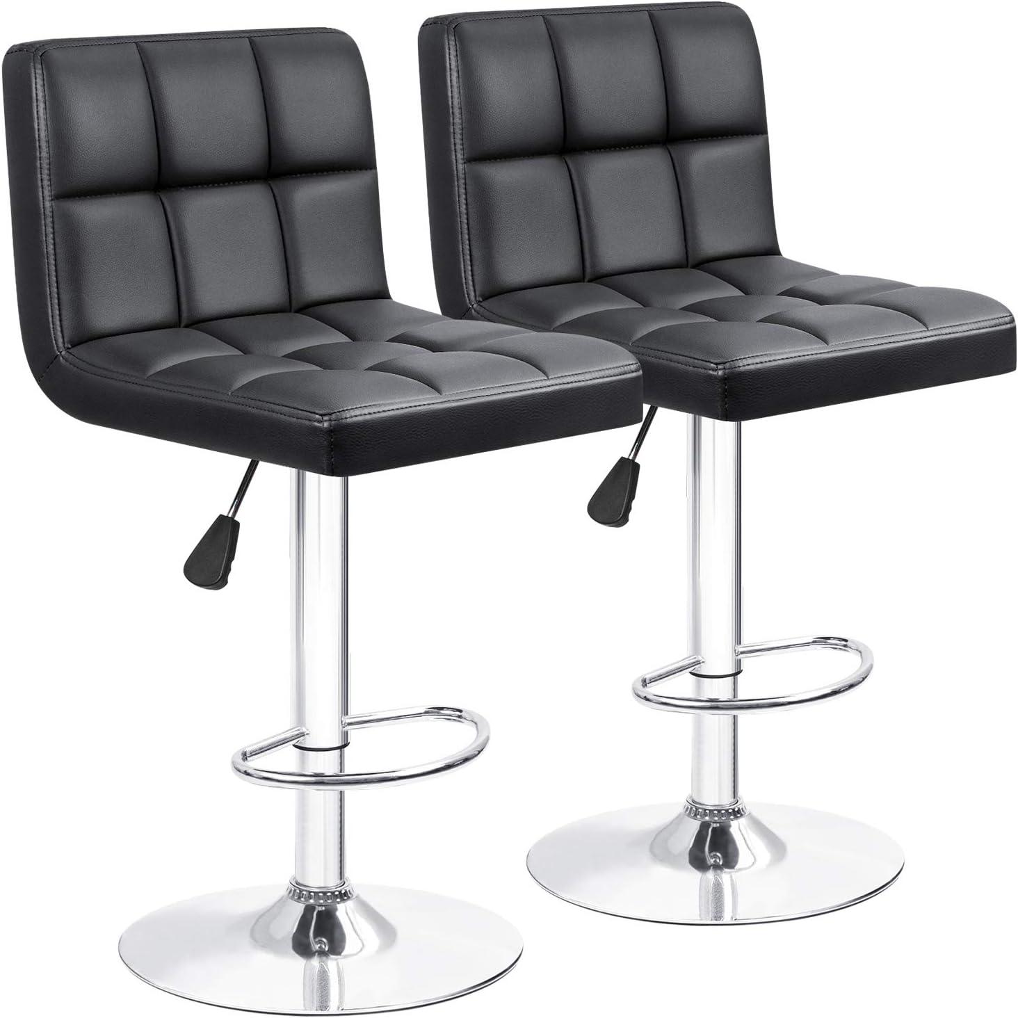 Bar Stools Barstools Modern Square PU Leather Adjustable Barstool, Armless  Counter Height Swivel Bar Stool with Back Set of 12 Black