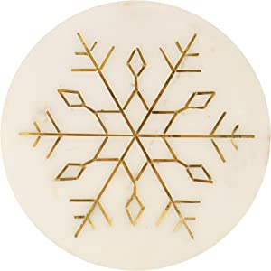 "GAURI KOHLI Christmas White Marble Cheese Plate/Trivet With Gold Inlay/Charcuterie Platter (Size 8"")"