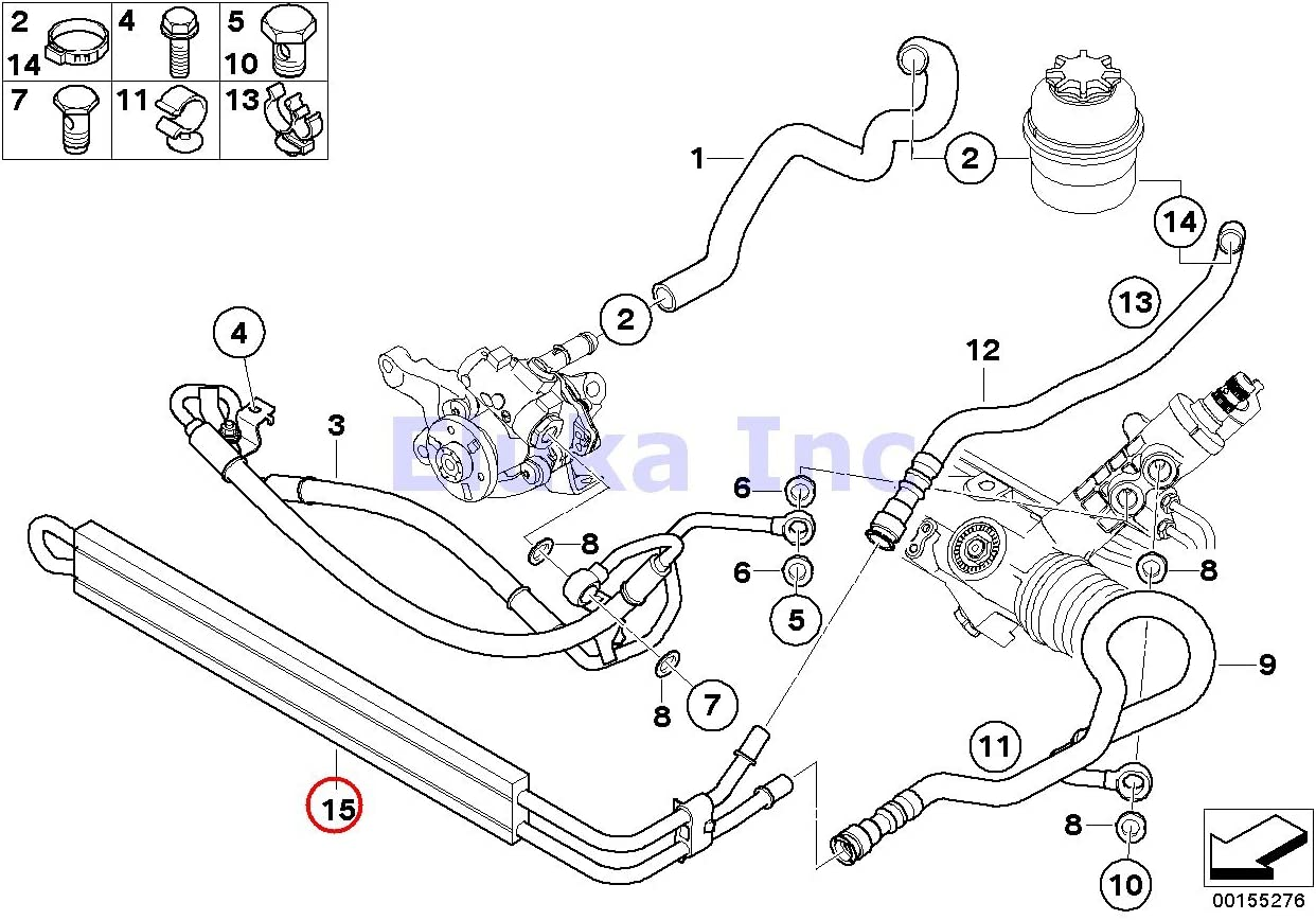 BMW Genuine Hydro Power Steering Hose - Cooling Coil 135i M Coupé X1 35iX 135i 335i 335xi 335i 335xi 335i 335xi 335i 335is 335xi 335i 335i 335is