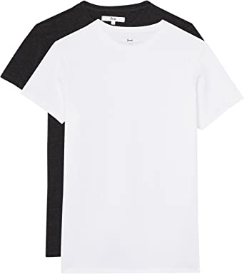 Marca Amazon - find. Camiseta Básica Hombre, Pack de 2, Multicolor (White/charcoal Marl), S, Label: S: Amazon.es: Ropa y accesorios