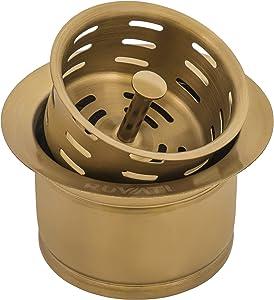 Ruvati Extended Garbage Disposal Flange with Deep Basket Strainer - Matte Gold Satin Brass - RVA1049GG