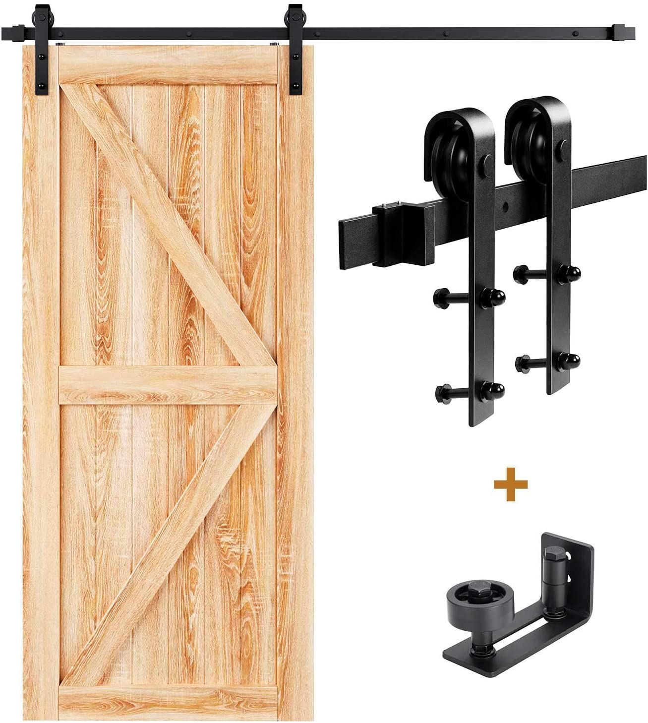 EaseLife 5 FT Sliding Barn Door Hardware Track Kit /& 8-in-1 Wall Mount Floor Guide