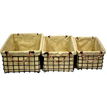 High Quality Wire Storage Baskets With Natural Linen Liners, Set Of 3