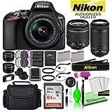 Nikon D3500 24.2MP DSLR Digital Camera with 18-55mm and 70-300mm Lenses (1588) USA Model Deluxe Bundle -Includes- Sandisk 64G