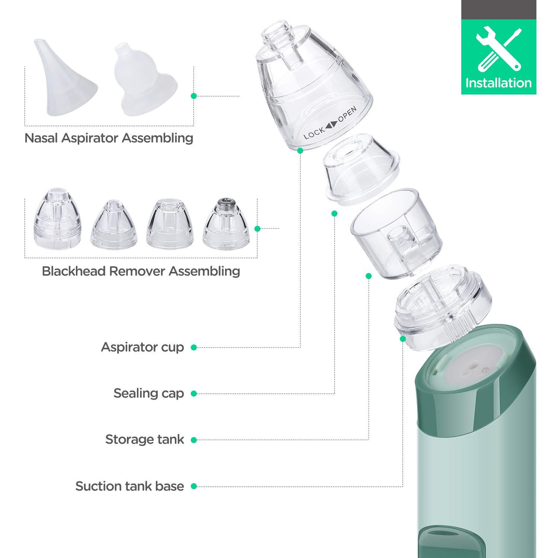 Nasal Aspirator mit 3 Saugstufen mit 3 Gr/ö/ßen Silikon Tipps Tragbar Nasensauger f/ür S/äuglinge und Kleinkinder Vakuum Mitesser Sauger mit 4 Ersatzsonden Nasensauger Baby Mitesserentferner 2 in 1