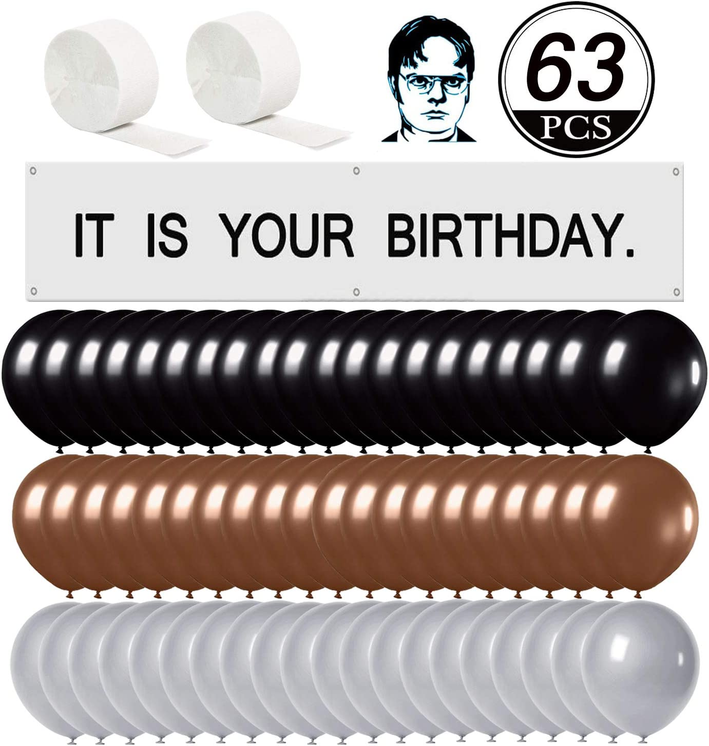Raiow It is Your Birthday. Banner The Office Birthday Decoration 63 Pcs Set,Brown Black Silver Balloons White Crepe Streamers,The Office Party Merchandise by Dwight K. Schrute