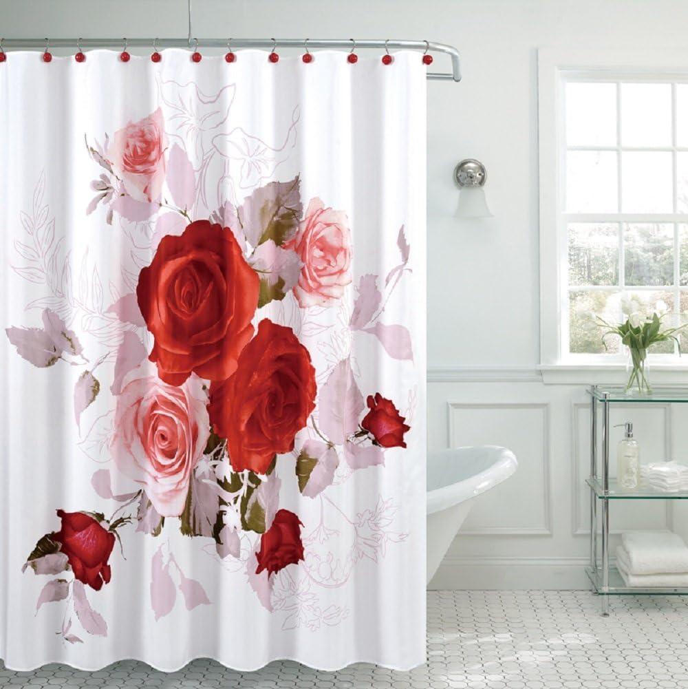 "Fancy Garden Rose Fabric Shower Curtain 70/""x/""72 100/% Polyester Daisy"