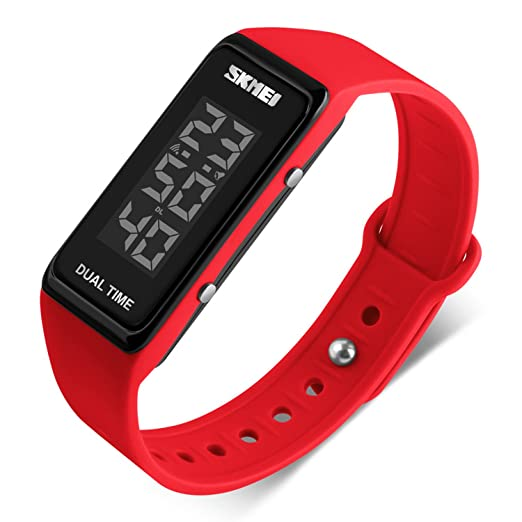 c77deff61 Sport Digital Wrist Watch 30M Waterproof for Kids Boys Girls Men Women  Silicone Watch Red