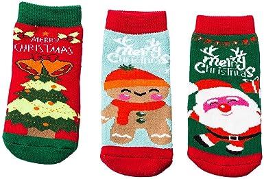 3Pairs Christmas Baby Infant Socks Cartoon Snowflake Boys Girls Anti-slip Socks