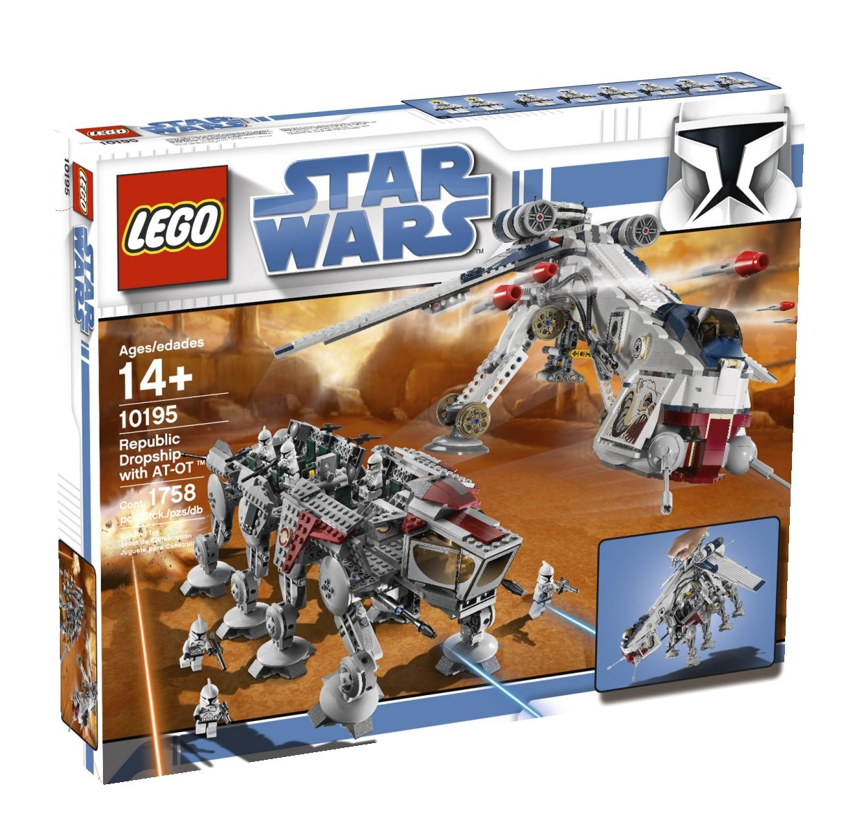 amazoncom lego star wars republic dropship with at ot walker 10195 discontinued by manufacturer toys games - Lego Star Wars Vaisseau Clone