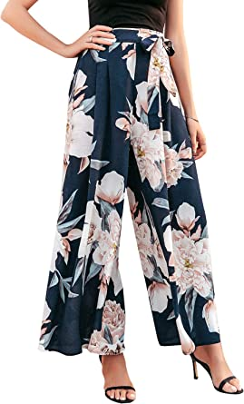 Yours Clothing Women/'s Plus Size Navy Floral Wide Leg Trousers