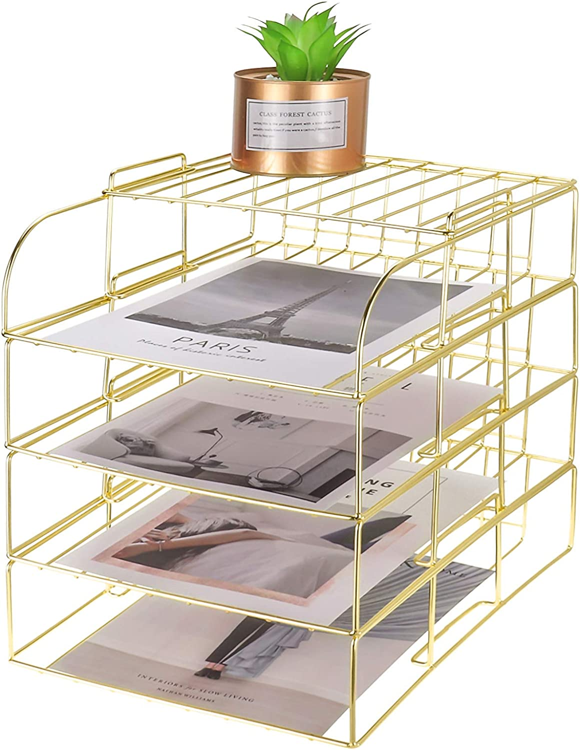 LEORISO Gold Desk Organizer, Stackable Paper Holder Rack Set of 4, Metal Letter File Organizer Tray, Desk Accessories for School Home Office Supplies