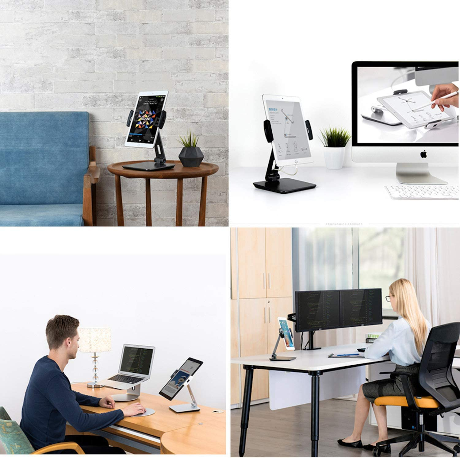 Silver, Large Flexible Tablet Mount for Home Office /& Commercial Desktop with 360/° Swivel Holders for Any 4-14 Display Tablets or Cell Phones Professional Business POS Tablet Stand