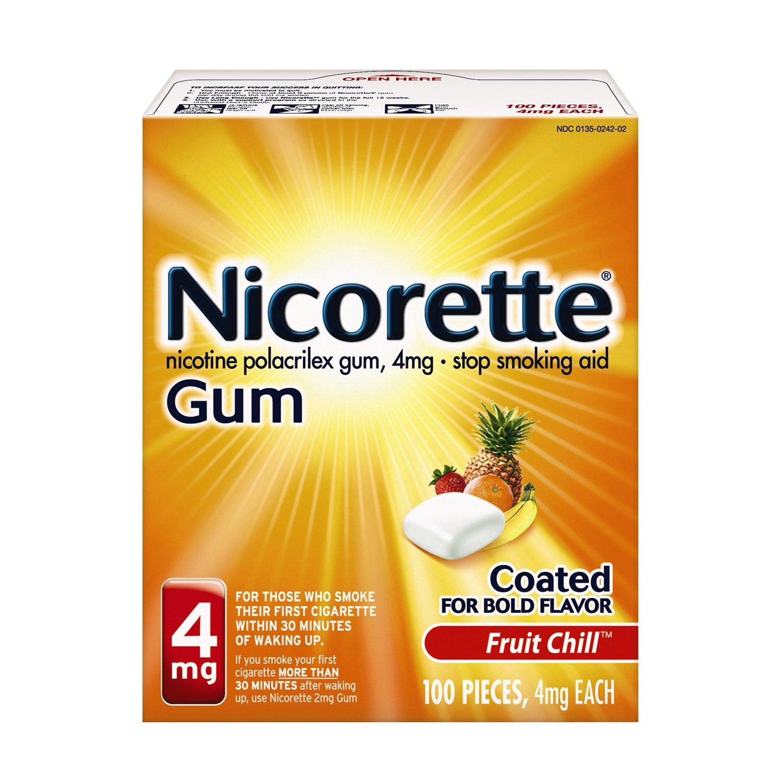 Nicorette Nicotine Gum, Stop Smoking Aid, 4 mg, Fruit Chill Flavor, 100 count by Nicorette