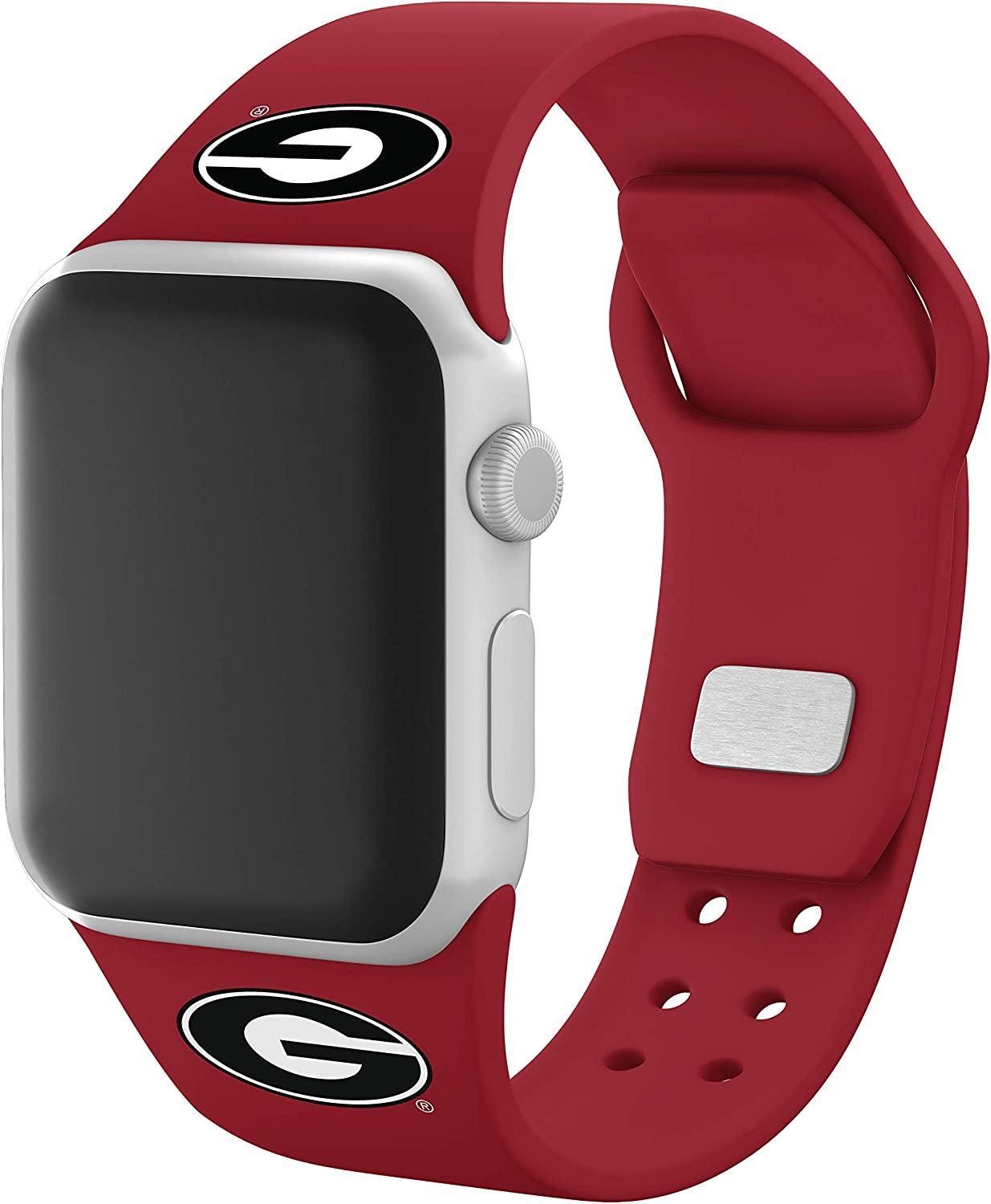 AFFINITY BANDS Georgia Bulldogs Silicone Watch Band Compatible with Apple Watch (Red, 42/44mm)