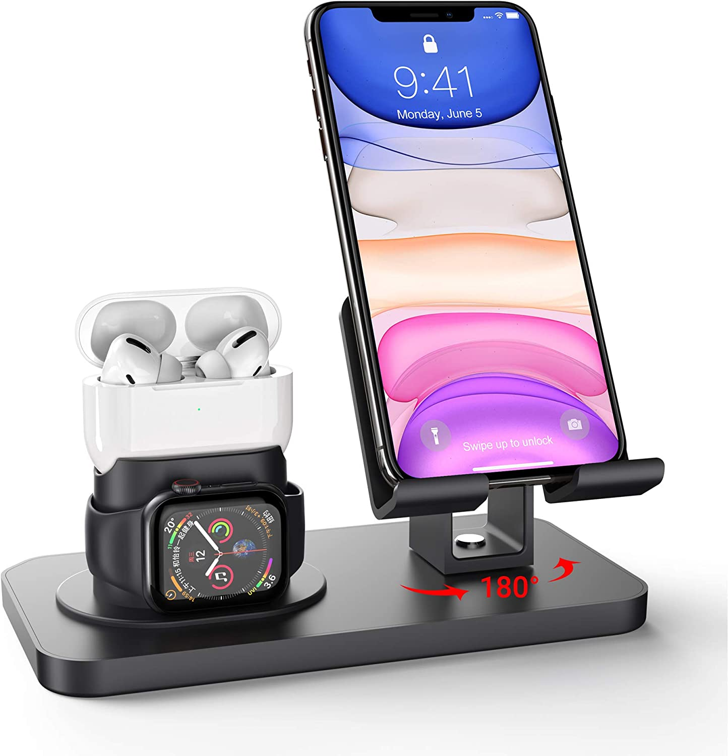 Imguardz 3 in 1 Charging Station Compatible with Apple Watch iPhone and Airpods, Charging Stand Dock for iWatch Series 5/4/3/2/1, AirPods Pro 2/1 and iPhone 11/pro/max//Xr/8/7 Plus/SE, Black