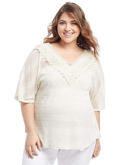 996a454470d7e Motherhood Plus Size Lace Trim Maternity T Shirt at Amazon Women's Clothing  store: