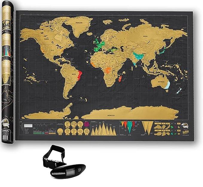 + REGALO Una Báscula Digital Para Pesar Maletas 40 kg. Negros. Scratching Map Para Registrar Tus Aventuras. Evita Sobrecargos En Tus Viajes.