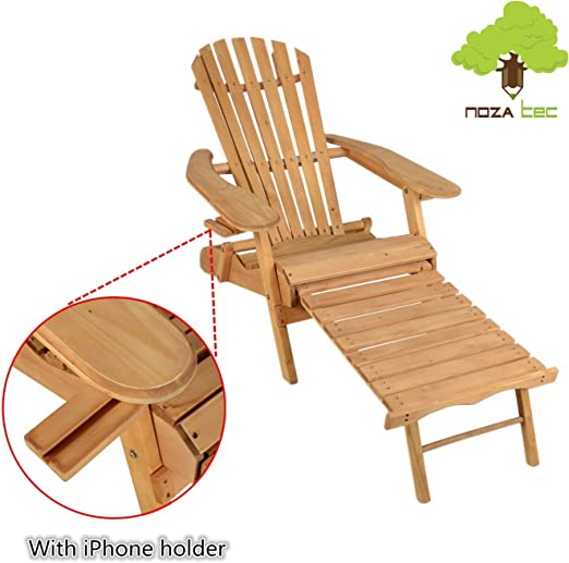 Adirondack silla de jardín tumbona con iphone soporte, Noza Tec al aire libre playa reposapiés Adirondack