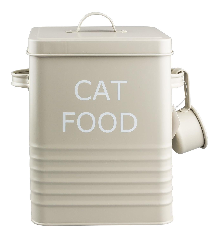 HOME SWEET TIN HOUSEWARES Home Sweet - Lata para guardar comida de gatos (incluye dosificador), color beige: Amazon.es: Hogar