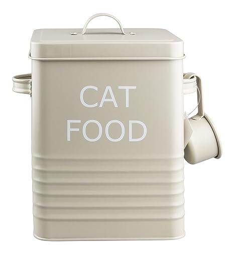 HOME SWEET TIN HOUSEWARES Home Sweet - Lata para guardar comida de gatos (incluye dosificador