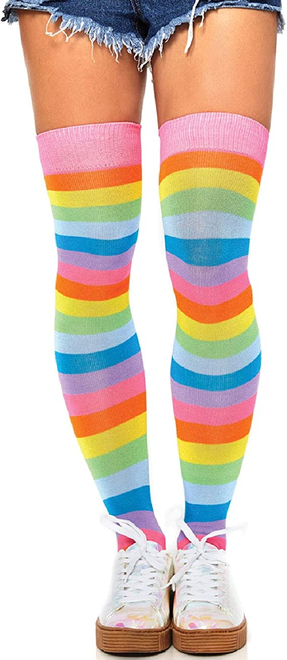 Rainbow Thigh High Footless Stockings