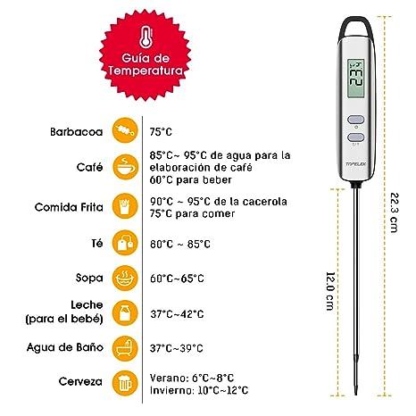 Habor Termómetro de Cocina Digital con Pantalla LCD, Funda ...