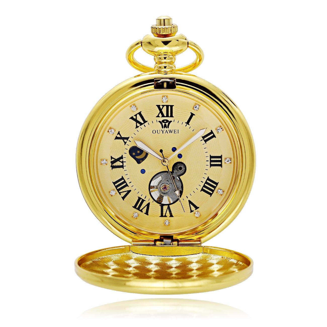 OUYAWEI Mechanical Pocket Watch Hollow Dial Moon Phase Function Gold Tone Women Fob Watch (Gold)