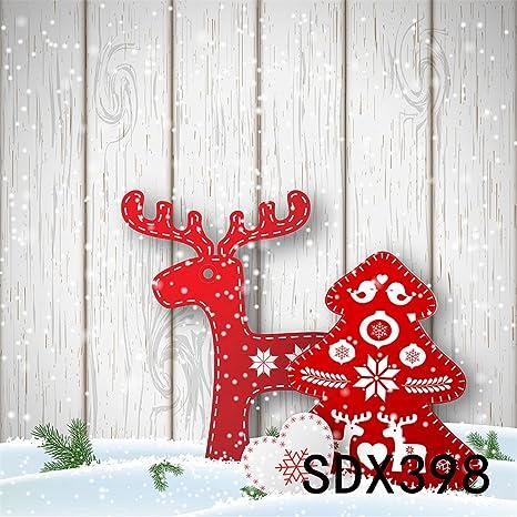 LB 210x150cm Vinilo De Fondo | Tarjetas de Elk y Árbol de Navidad, tablero de madera ...