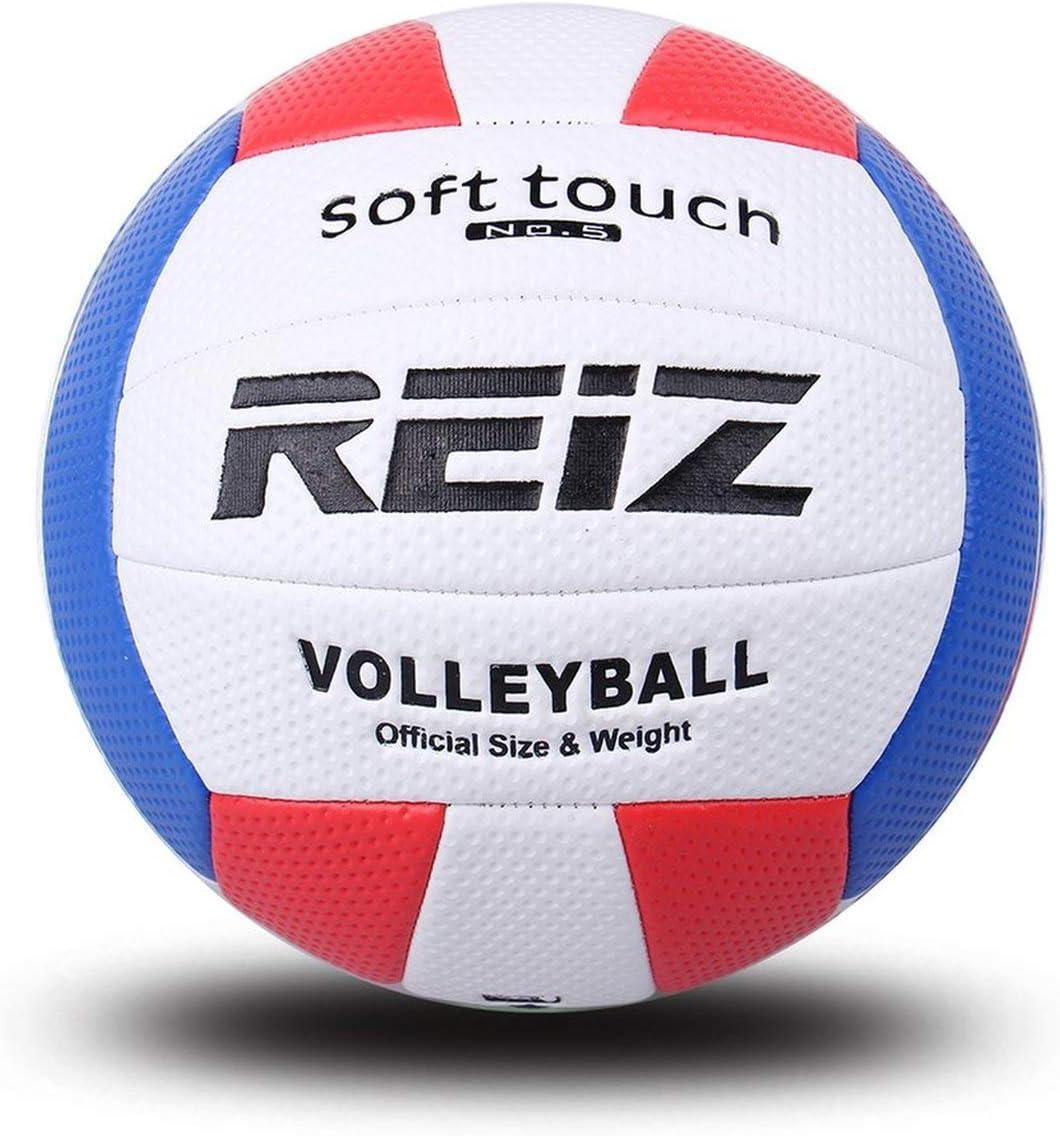 Greatangle REIZ Professional Soft PU Palla da pallavolo Palla da Allenamento da Competizione Uomo Donna Taglia Ufficiale Peso Soft Touch Palla da pallavolo Bianco Rosso Blu