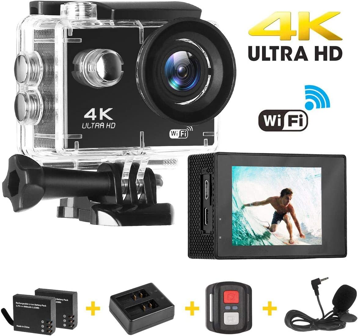 Cámara Deportiva, Acción 4K Ultra HD WiFi Video Cámara/ EIS (Funciones Anti-Shaking) / 2 Recargables 1200mAh Baterías/ Kits de Instalación/ 2.4G Control Remoto/ Impermeable 30M/ Gran Angular de 170°: Amazon.es: Electrónica