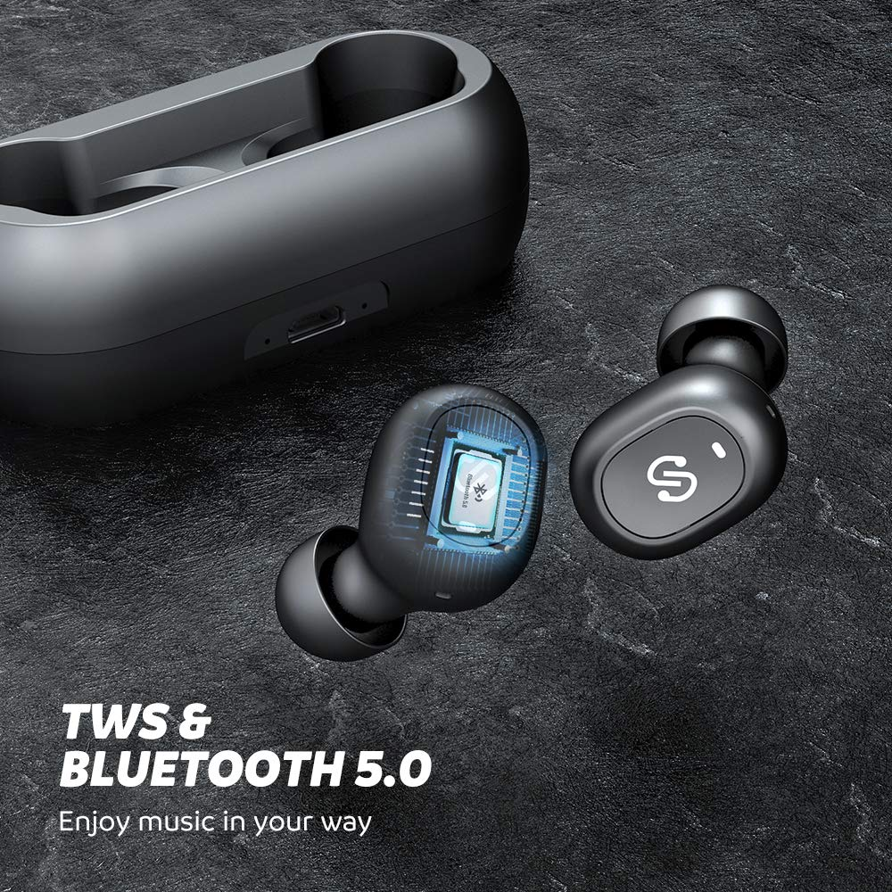 SoundPEATS TrueFree True Wireless Earbuds Bluetooth 5.0 in-Ear Stereo Bluetooth Headphones with Microphone Wireless Earphones 15 Hours Playtime, Hands-Free Calls, One-Step Pairing by SoundPEATS (Image #3)