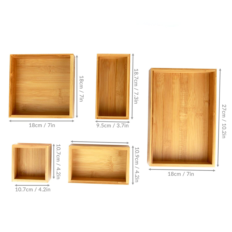 Organizador de cajones de bambú de 5 piezas | cajas de ...