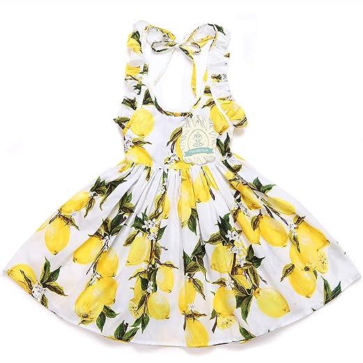 56ab32e13 Amazon.com  Flofallzique Little Girls Lemon Dress Easter Baby ...