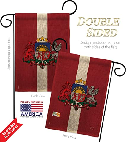 Amazon Com Breeze Decor Gs108201 Db Latvia Burlap Flags Of The World Nationality Impressions Decorative Vertical 13 X 18 5 Double Sided Garden Flag Set Metal Pole Hardware Garden Outdoor