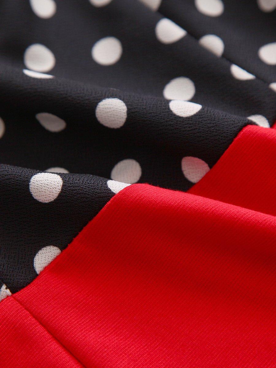 CISMARK Elegant Color block V-Neck Sleeveless Office Pencil Dress Red M by CISMARK (Image #7)