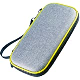 FJ EVA tough Case Pouch travel Carry Bag +4 Caps For NS Switch Lite Console Compression Protection Hard Bag With Mezzanine Can Be Stored With A Cassette Hand Strap Hat Set (Yellow)