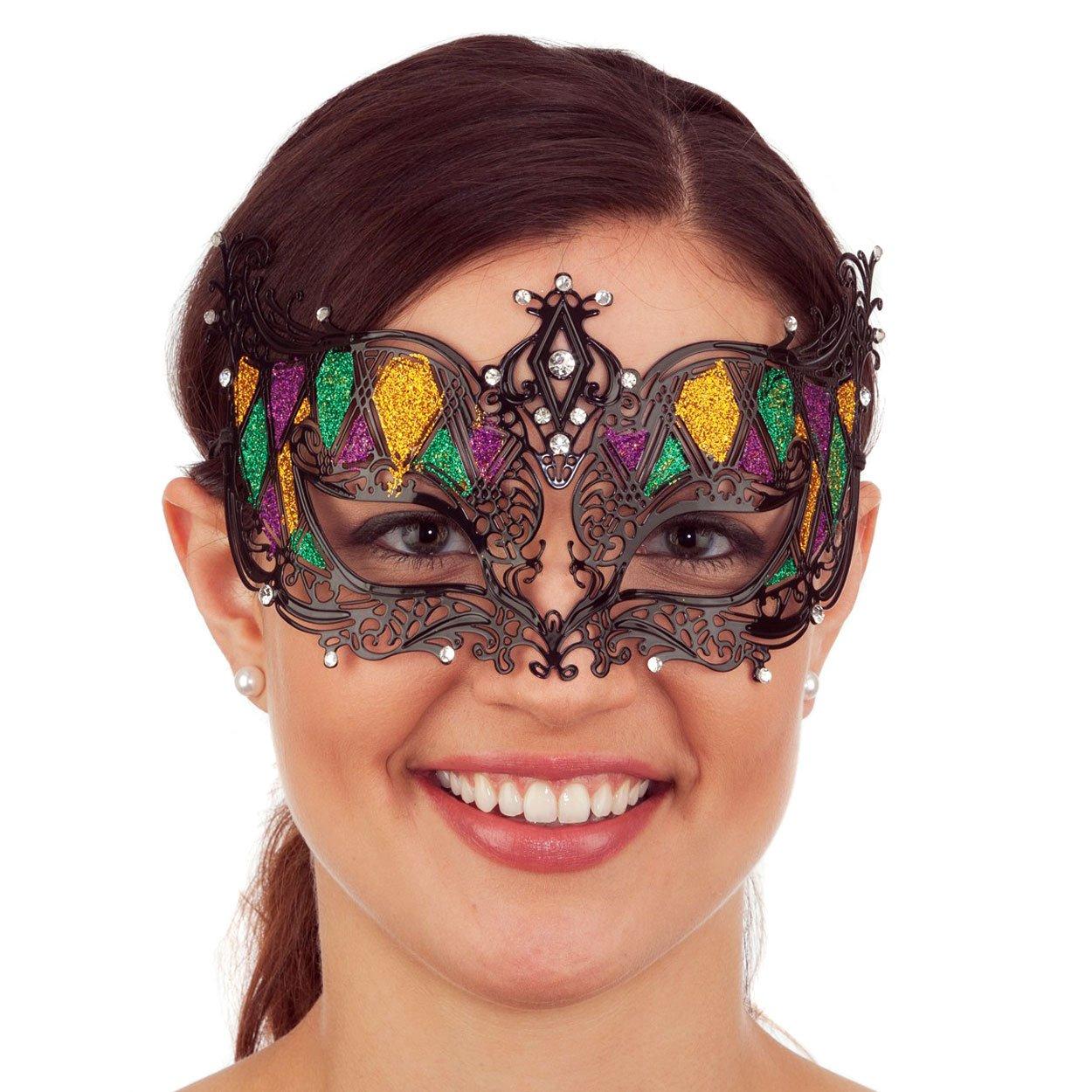 Glitter Mardi Gras Metal Filigree Mask