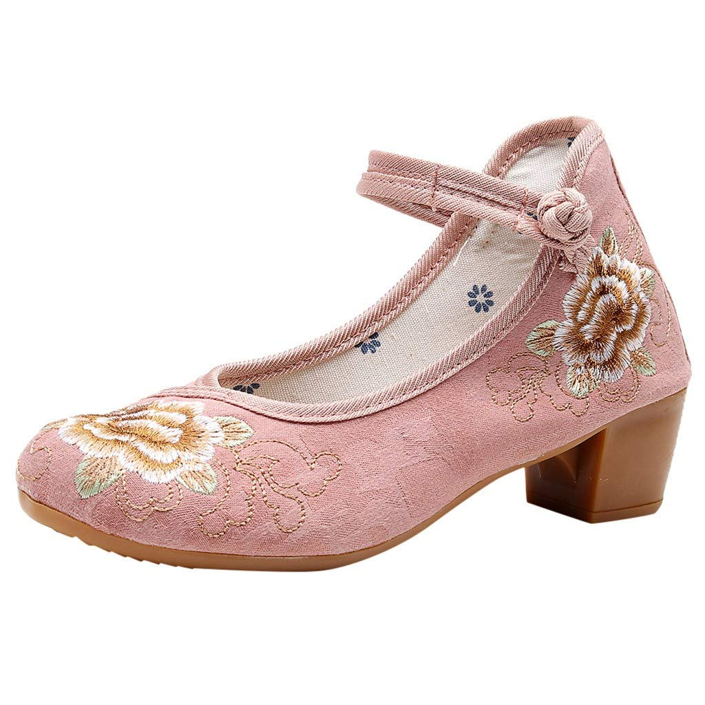 ZOMUSAR New! 2019 Women's Embroidered Shoes Retro Ethnic Style Thick Heel Shoes Ancient Sandals Pink