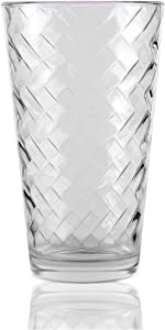 Circleware Chevron Set of 4 Heavy Base Highball Drinking Glasses Beverage Tumbler Cups for Water, Juice, Milk, Beer, Ice Tea and Farmhouse Decor, 15.75 oz