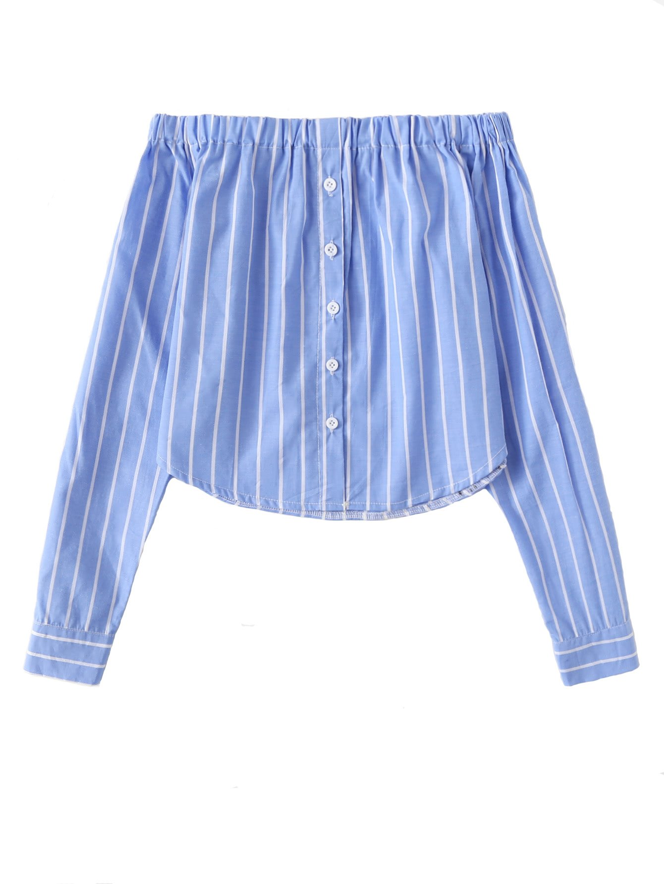 Penpell Vintage Elegant Women's Summer Cute Single Breasted Off Shoulder Blue Striped Crop Top Casual Ruffle Crop Top Long Sleeve Tops M
