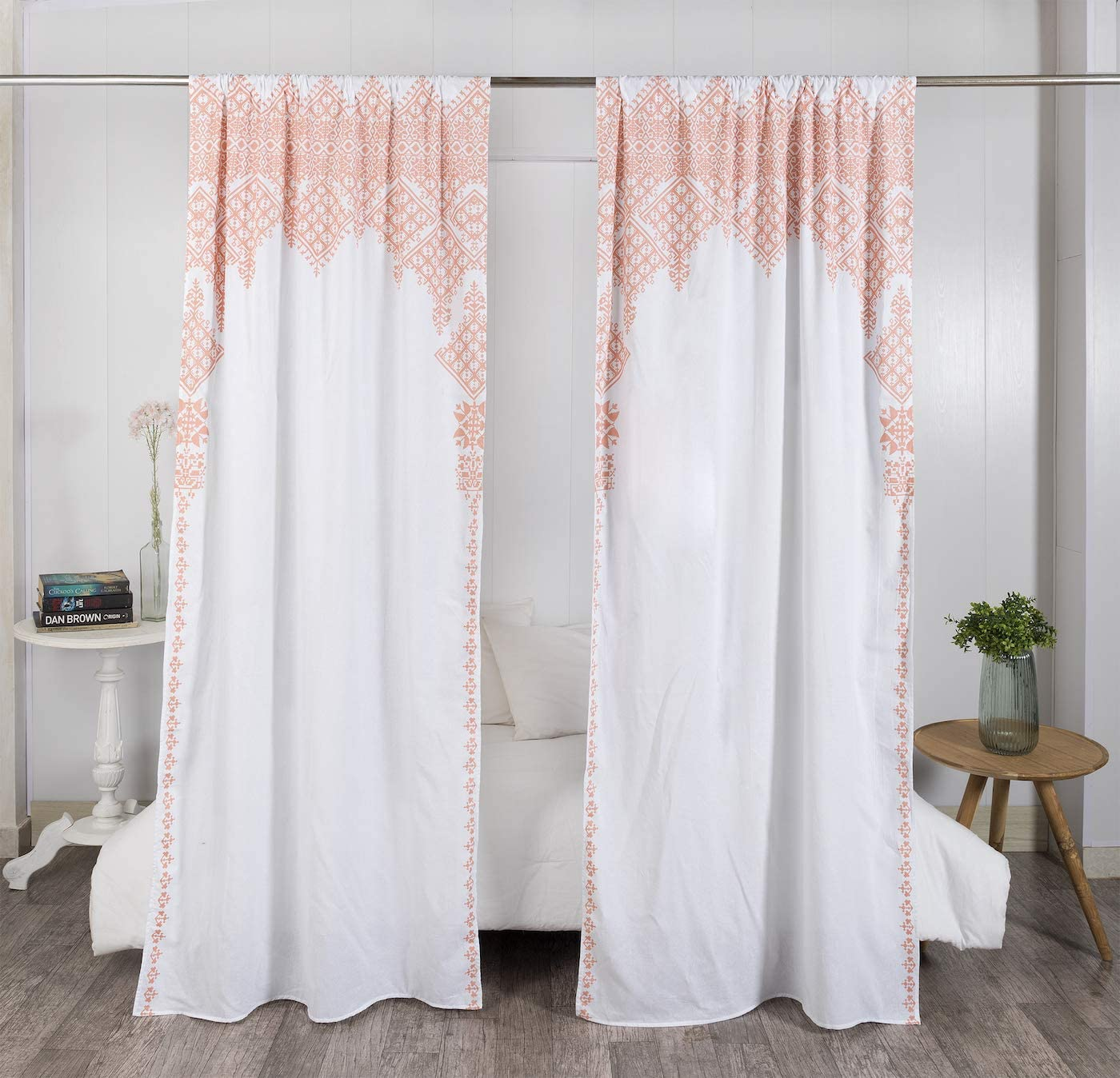 "Madhu International Set of 2 Bohemian Curtains - Handmade Cotton Indian Tapestry Curtains - Curtain Drape With Rod Pocket - Floral Printed Mandala Curtain Panel for Living Room - White Rose, 41"" X 87"""