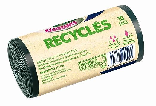 Handy bag - Bolsas de basura con el desplazamiento de asas reciclado 50 l 68 x 73 cm / 10 x paquete de 2: Amazon.es: Alimentación y bebidas