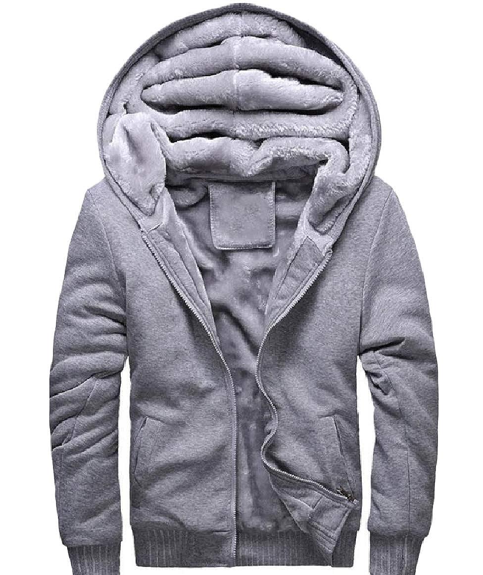 Romantc Mens Thick Pure Colour Plus Size Hood Zipper Velvet Sweatshirts Coat