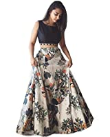 Alzara Creation Women's semi stitched Crape Lehenga Choli Set