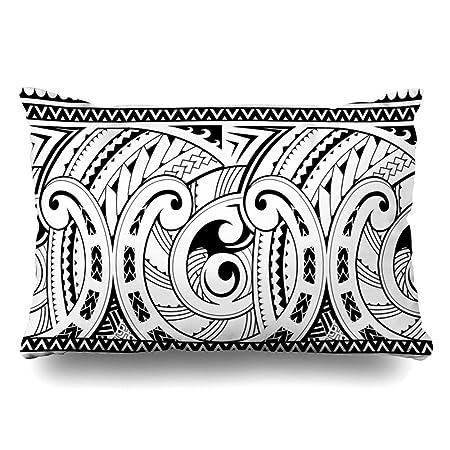 Ahawoso Funda de Almohada Queen 20 x 30 patrón Tatuaje maorí Buena ...