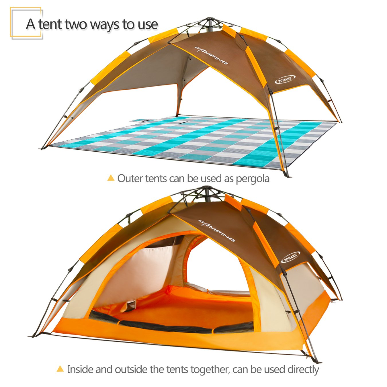 6b0d9c6f0699 ZOMAKE Dome Tent for Camping 3 4 Person - Waterproof Instant Backpacking  Tent, Automatic Hydraulic Pop Up Tent with Easy Setup, Carry Bag Included