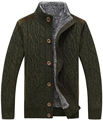 HENGAO Men's Stand Collar Cable Knit Cardigan Sweater Jacket at ...