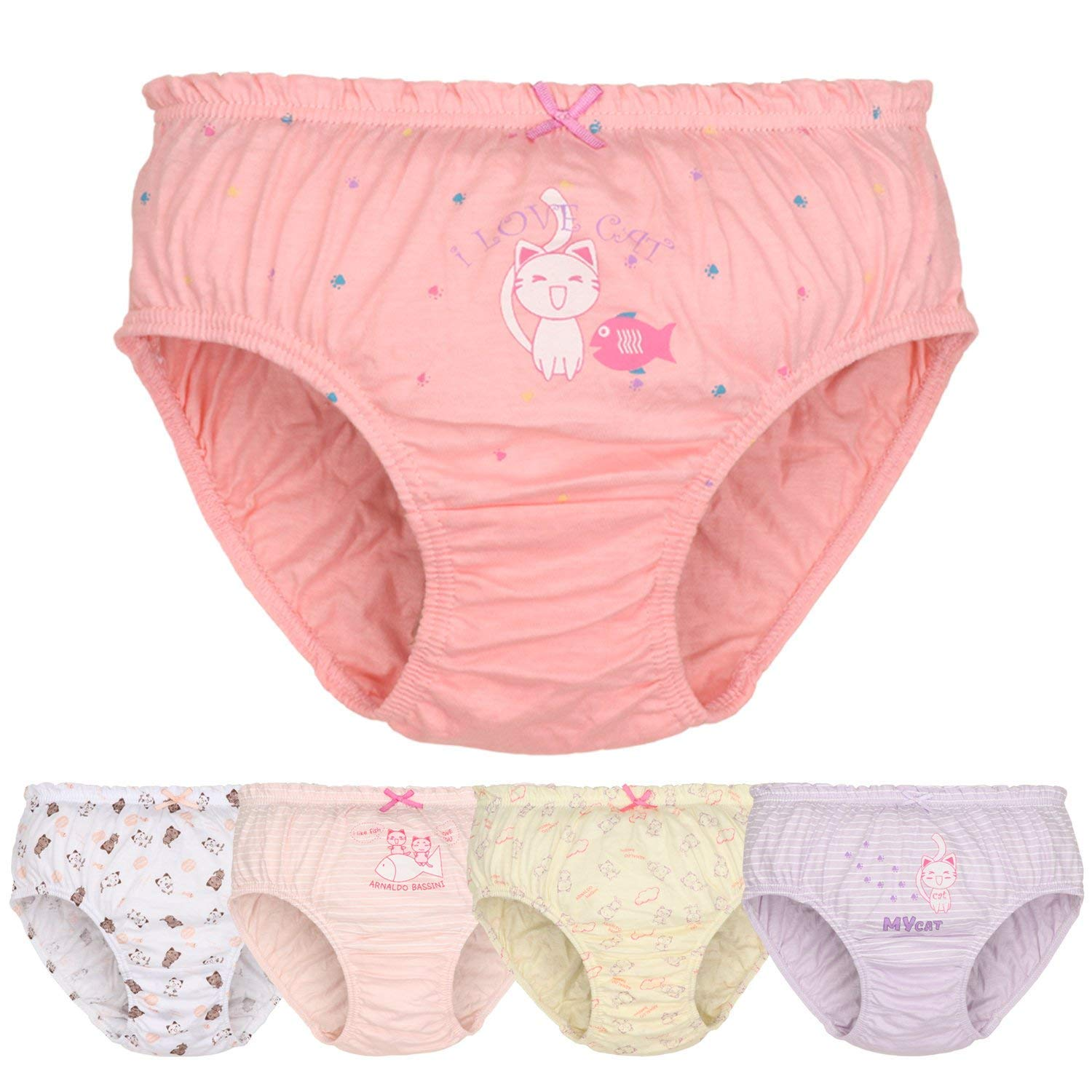 DVANIS Girls' Kitty Knickers 100% Cotton Cat Underwear Assorted Pink 5 Pack 2-7 Years